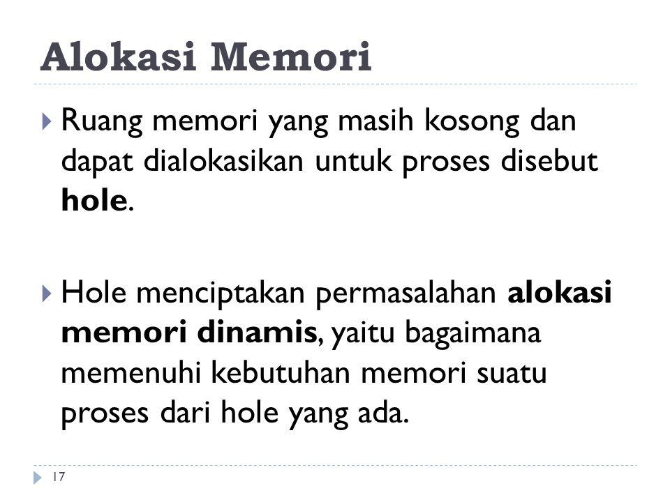 Alokasi Memori  Ruang memori yang masih kosong dan dapat dialokasikan untuk proses disebut hole.  Hole menciptakan permasalahan alokasi memori dinam