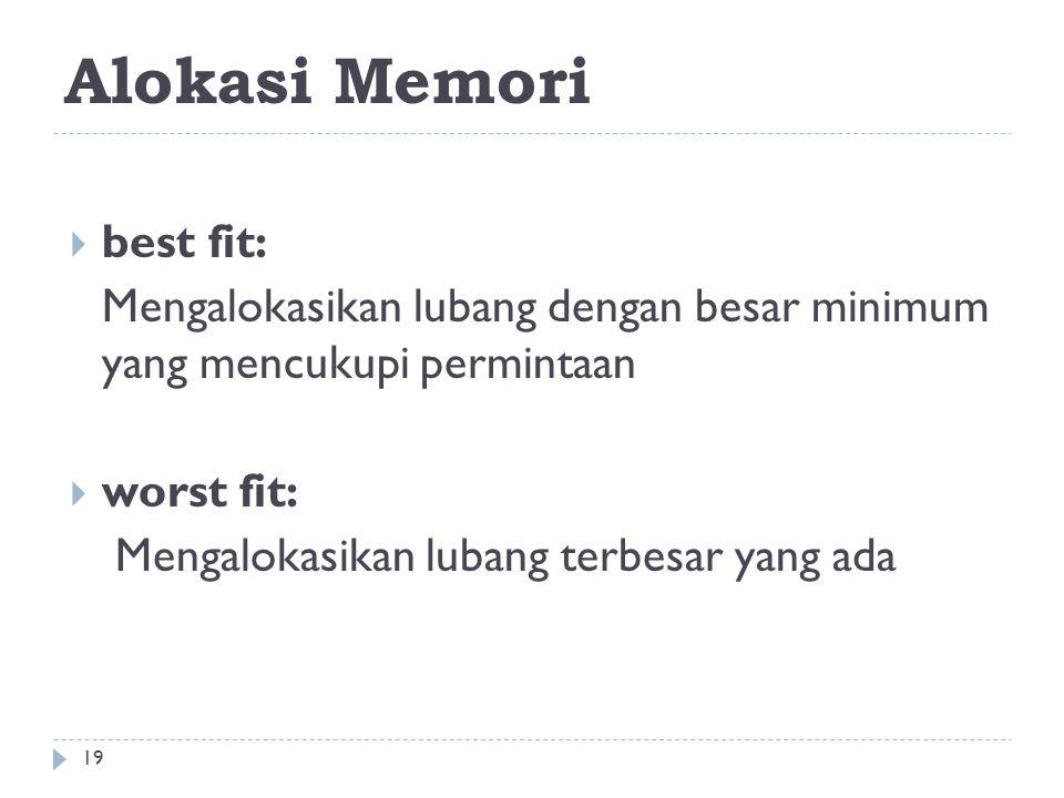 Alokasi Memori  best fit: Mengalokasikan lubang dengan besar minimum yang mencukupi permintaan  worst fit: Mengalokasikan lubang terbesar yang ada 1