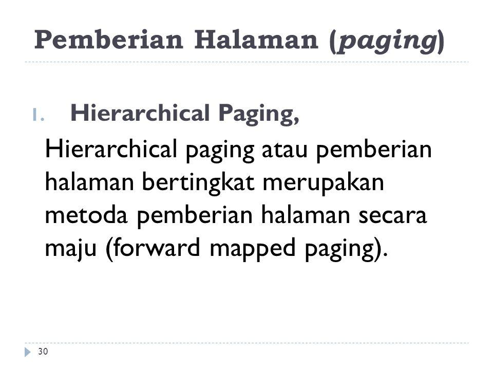 Pemberian Halaman ( paging ) 1. Hierarchical Paging, Hierarchical paging atau pemberian halaman bertingkat merupakan metoda pemberian halaman secara m