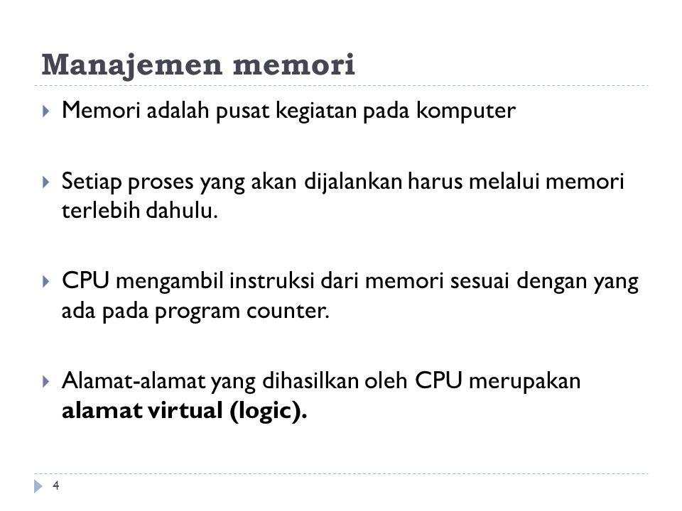 Manajemen memori  Memori adalah pusat kegiatan pada komputer  Setiap proses yang akan dijalankan harus melalui memori terlebih dahulu.  CPU mengamb