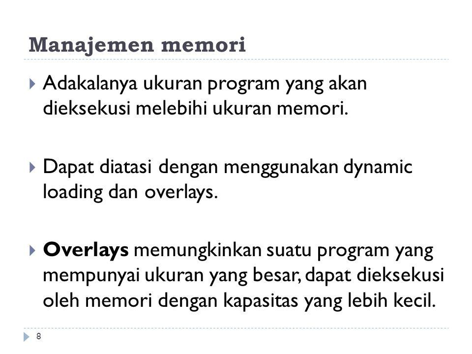 Manajemen memori  Adakalanya ukuran program yang akan dieksekusi melebihi ukuran memori.  Dapat diatasi dengan menggunakan dynamic loading dan overl