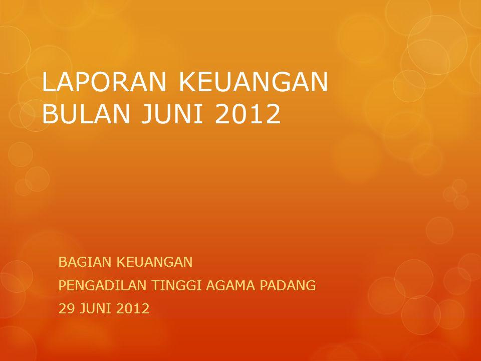 LAPORAN KEUANGAN BULAN JUNI 2012 BAGIAN KEUANGAN PENGADILAN TINGGI AGAMA PADANG 29 JUNI 2012