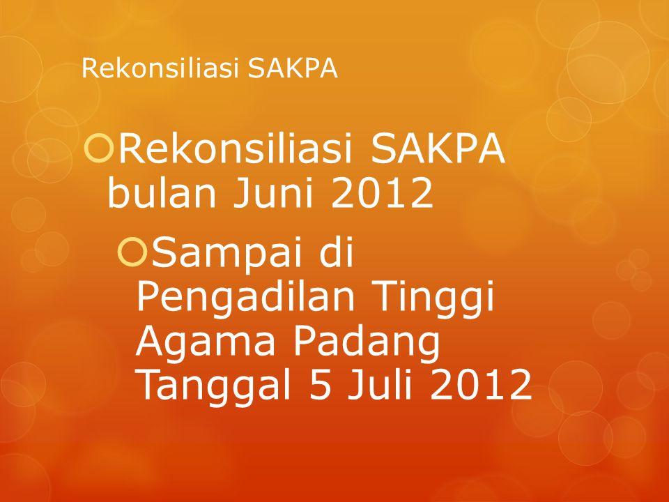 Rekonsiliasi SAKPA  Rekonsiliasi SAKPA bulan Juni 2012  Sampai di Pengadilan Tinggi Agama Padang Tanggal 5 Juli 2012