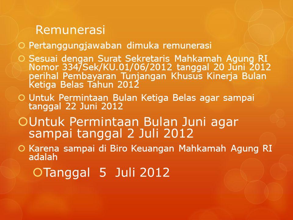 Remunerasi  Pertanggungjawaban dimuka remunerasi  Sesuai dengan Surat Sekretaris Mahkamah Agung RI Nomor 334/Sek/KU.01/06/2012 tanggal 20 Juni 2012