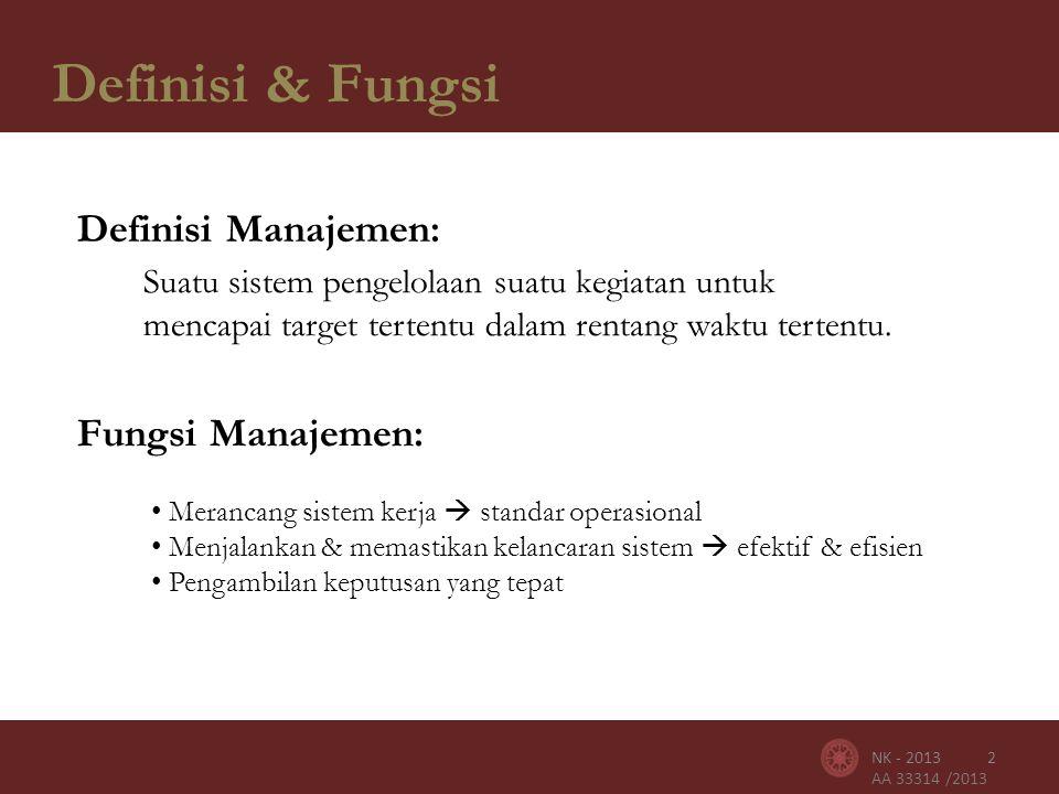 AA 33314 /2013 Definisi & Fungsi 2NK - 2013 Definisi Manajemen: Suatu sistem pengelolaan suatu kegiatan untuk mencapai target tertentu dalam rentang waktu tertentu.