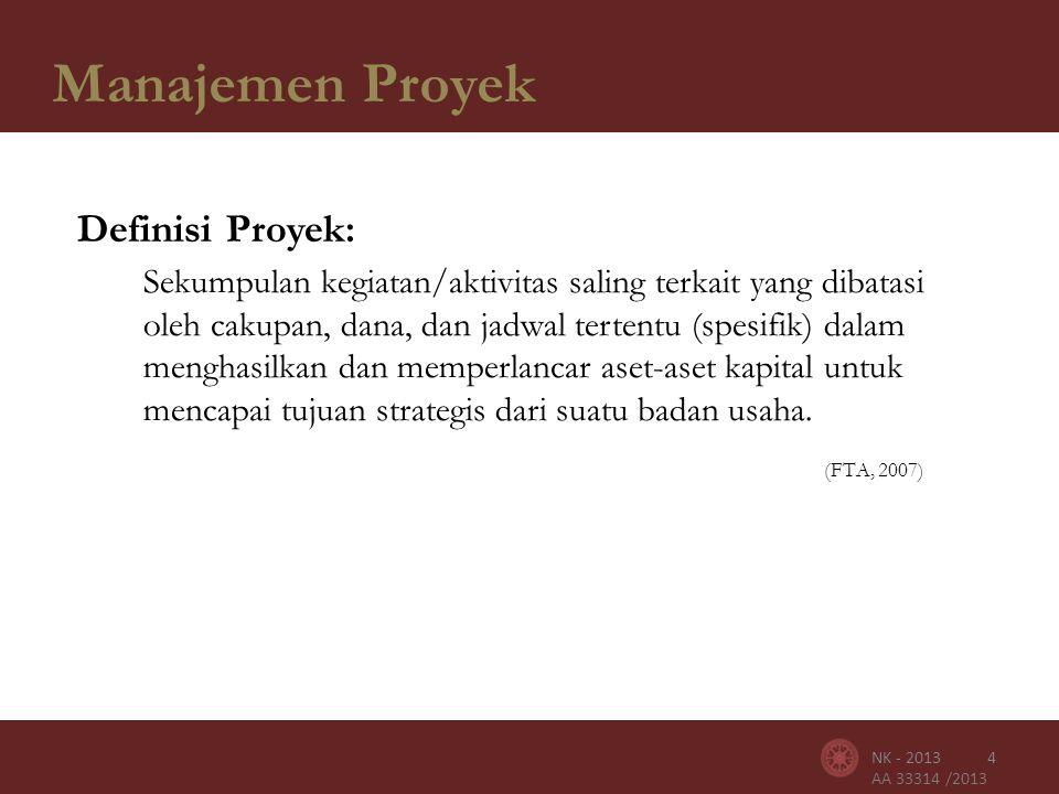 AA 33314 /2013 Manajemen Proyek 4NK - 2013 Definisi Proyek: Sekumpulan kegiatan/aktivitas saling terkait yang dibatasi oleh cakupan, dana, dan jadwal