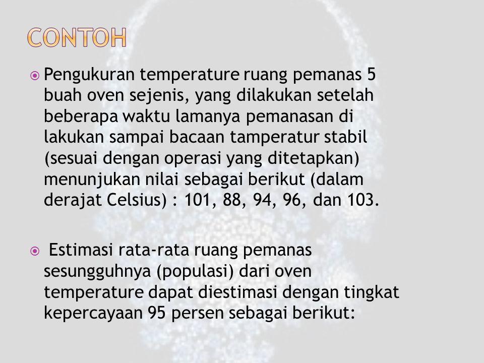  Pengukuran temperature ruang pemanas 5 buah oven sejenis, yang dilakukan setelah beberapa waktu lamanya pemanasan di lakukan sampai bacaan tamperatur stabil (sesuai dengan operasi yang ditetapkan) menunjukan nilai sebagai berikut (dalam derajat Celsius) : 101, 88, 94, 96, dan 103.