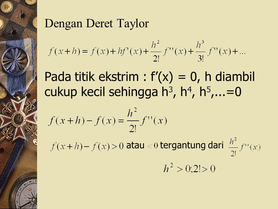 Dengan Deret Taylor Pada titik ekstrim : f'(x) = 0, h diambil cukup kecil sehingga h 3, h 4, h 5,...=0 atautergantung dari