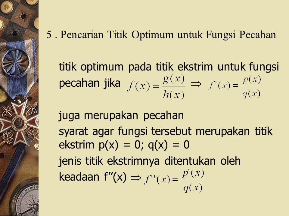 5. Pencarian Titik Optimum untuk Fungsi Pecahan titik optimum pada titik ekstrim untuk fungsi pecahan jika  juga merupakan pecahan syarat agar fungsi