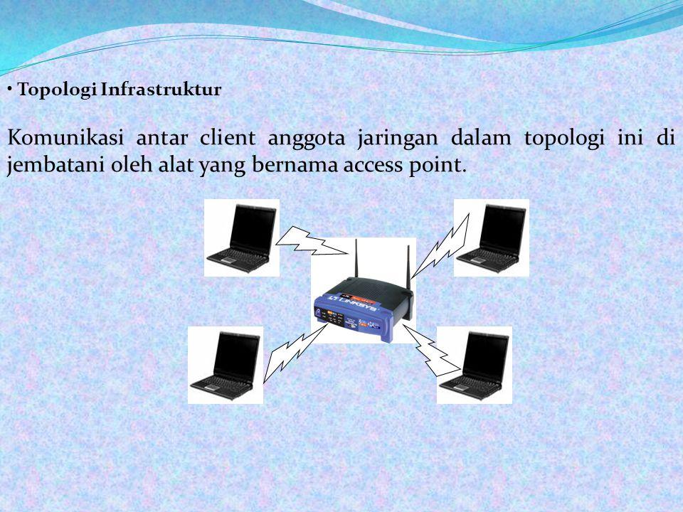 • Topologi Infrastruktur Komunikasi antar client anggota jaringan dalam topologi ini di jembatani oleh alat yang bernama access point.