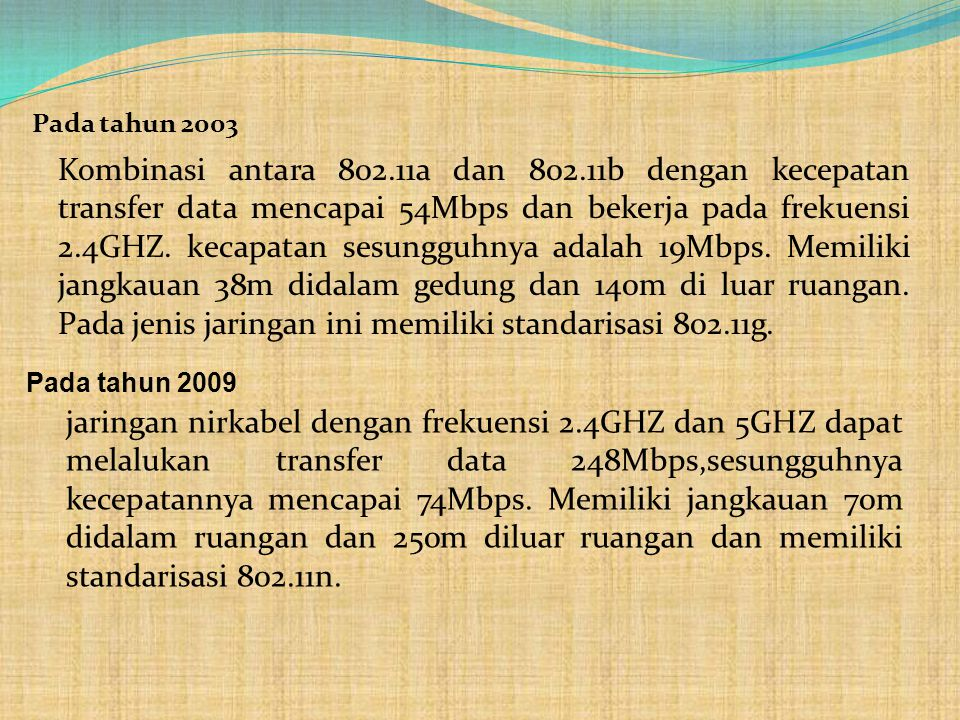 Pada tahun 2003 Kombinasi antara 802.11a dan 802.11b dengan kecepatan transfer data mencapai 54Mbps dan bekerja pada frekuensi 2.4GHZ. kecapatan sesun