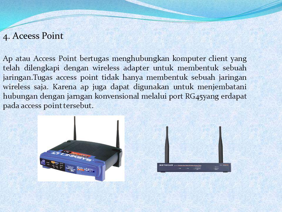4. Aceess Point Ap atau Access Point bertugas menghubungkan komputer client yang telah dilengkapi dengan wireless adapter untuk membentuk sebuah jarin