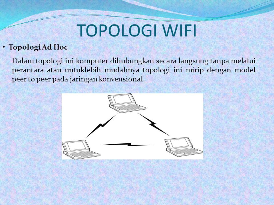 TOPOLOGI WIFI • Topologi Ad Hoc Dalam topologi ini komputer dihubungkan secara langsung tanpa melalui perantara atau untuklebih mudahnya topologi ini