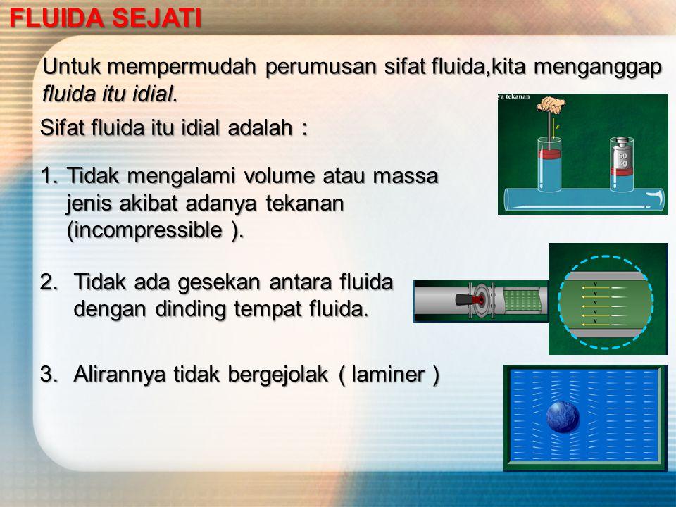 Untuk mempermudah perumusan sifat fluida,kita menganggap fluida itu idial.