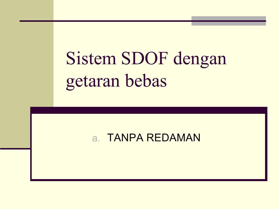 Sistem SDOF dengan getaran bebas a. TANPA REDAMAN
