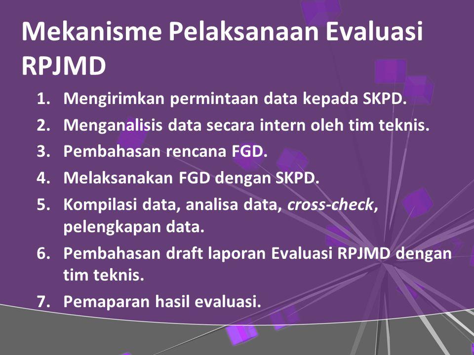 Mekanisme Pelaksanaan Evaluasi RPJMD 1.Mengirimkan permintaan data kepada SKPD.