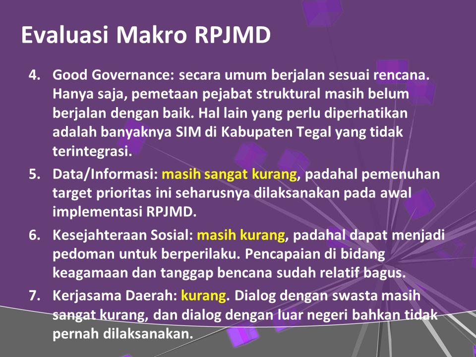 Evaluasi Makro RPJMD 4.Good Governance: secara umum berjalan sesuai rencana.