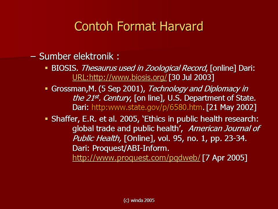 (c) winda 2005 Contoh Format Harvard –Sumber elektronik :  BIOSIS. Thesaurus used in Zoological Record, [online] Dari: URL:http://www.biosis.org/ [30