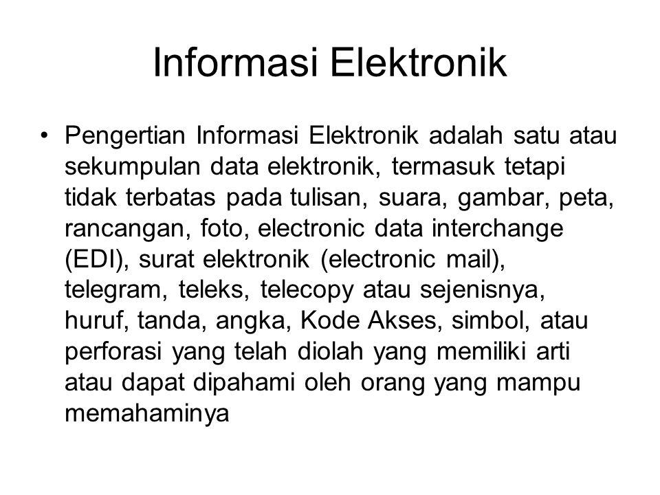 Informasi Elektronik •Pengertian Informasi Elektronik adalah satu atau sekumpulan data elektronik, termasuk tetapi tidak terbatas pada tulisan, suara,