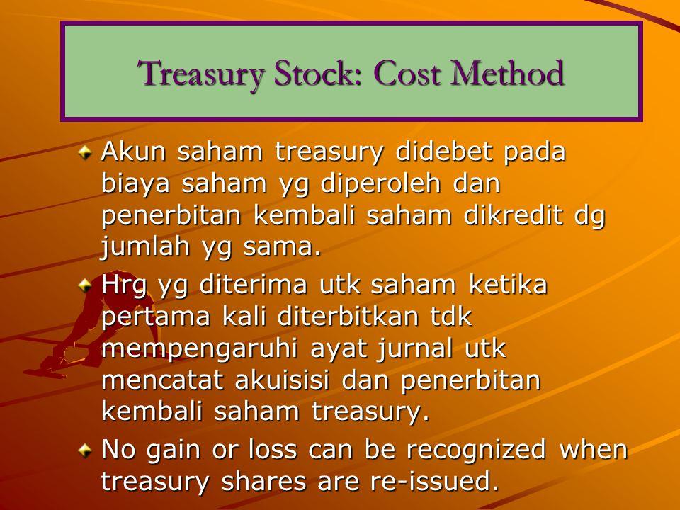 Akun saham treasury didebet pada biaya saham yg diperoleh dan penerbitan kembali saham dikredit dg jumlah yg sama.
