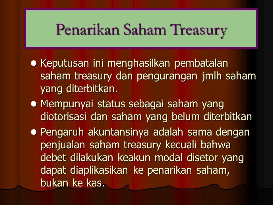  Keputusan ini menghasilkan pembatalan saham treasury dan pengurangan jmlh saham yang diterbitkan.