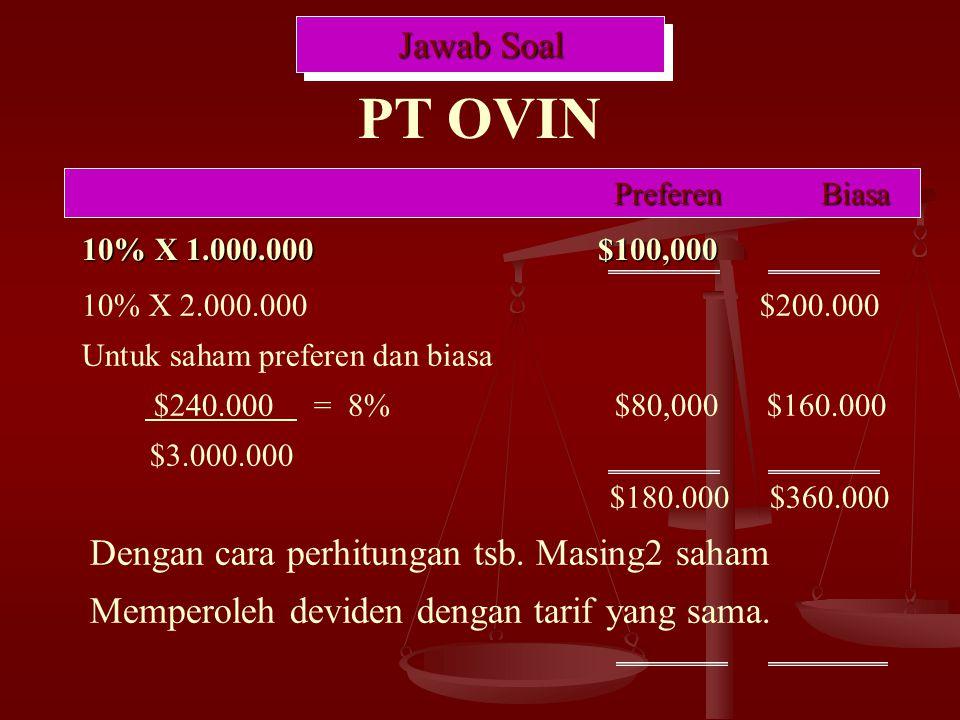 10% X 1.000.000 $100,000 Jawab Soal PT OVIN PreferenBiasa 10% X 2.000.000 $200.000 Untuk saham preferen dan biasa $240.000 = 8% $80,000 $160.000 $3.000.000 $180.000 $360.000 Dengan cara perhitungan tsb.