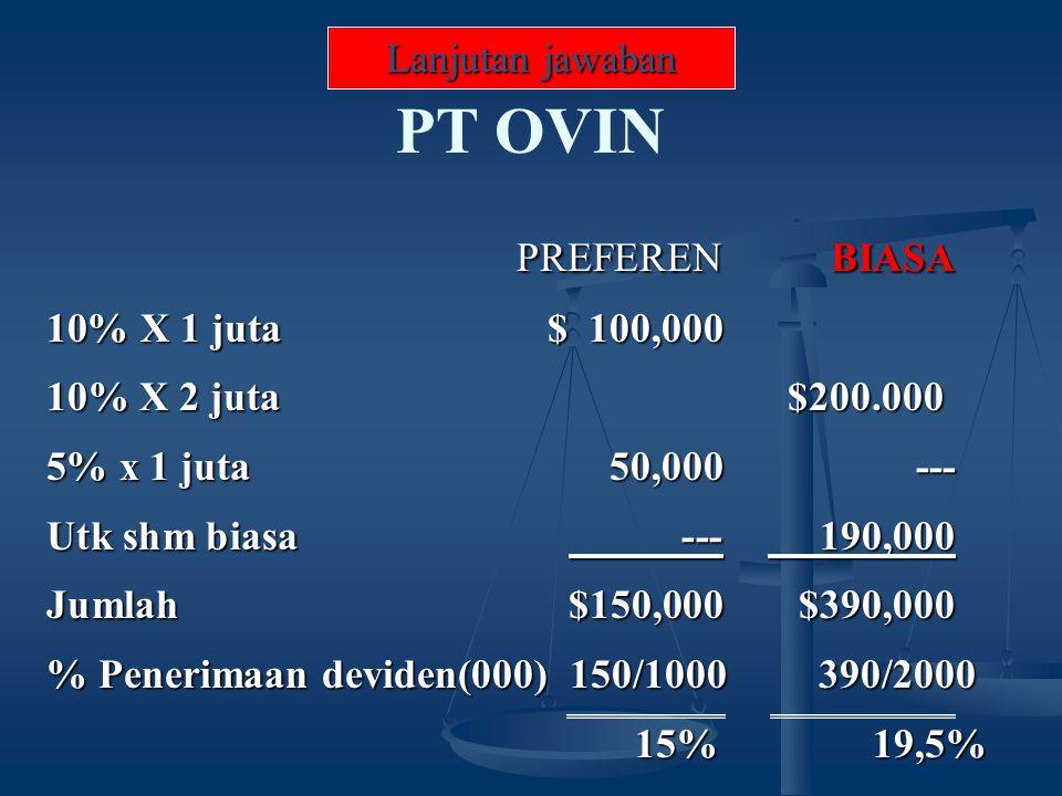 PREFERENBIASA 10% X 1 juta$ 100,000 10% X 2 juta $200.000 5% x 1 juta50,000--- Utk shm biasa --- 190,000 Jumlah$150,000$390,000 % Penerimaan deviden(000) 150/1000 390/2000 15% 19,5% 15% 19,5% PT OVIN Lanjutan jawaban