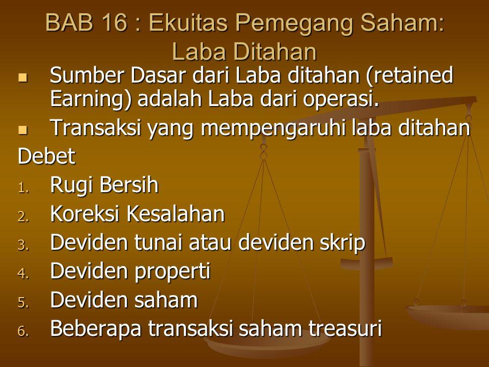 BAB 16 : Ekuitas Pemegang Saham: Laba Ditahan  Sumber Dasar dari Laba ditahan (retained Earning) adalah Laba dari operasi.