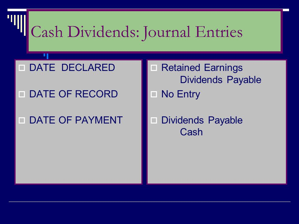  DATE DECLARED  DATE OF RECORD  DATE OF PAYMENT  Retained Earnings Dividends Payable  No Entry  Dividends Payable Cash Cash Dividends: Journal E