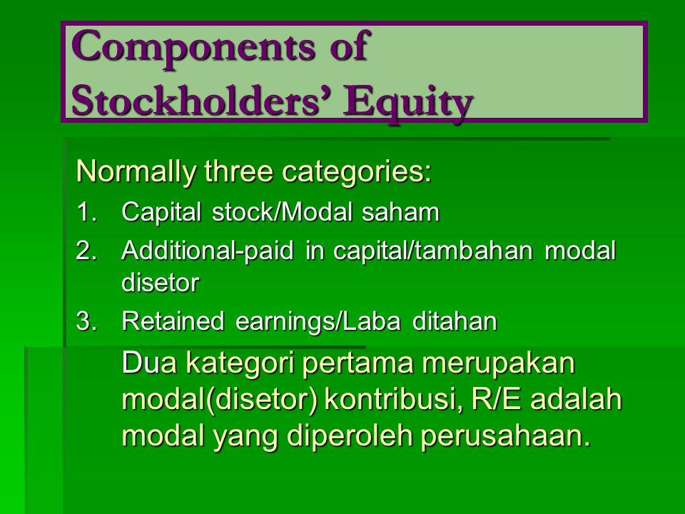 Normally three categories: 1.Capital stock/Modal saham 2.Additional-paid in capital/tambahan modal disetor 3.Retained earnings/Laba ditahan Dua kategori pertama merupakan modal(disetor) kontribusi, R/E adalah modal yang diperoleh perusahaan.