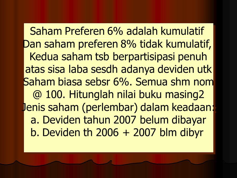 Saham Preferen 6% adalah kumulatif Dan saham preferen 8% tidak kumulatif, Kedua saham tsb berpartisipasi penuh atas sisa laba sesdh adanya deviden utk Saham biasa sebsr 6%.