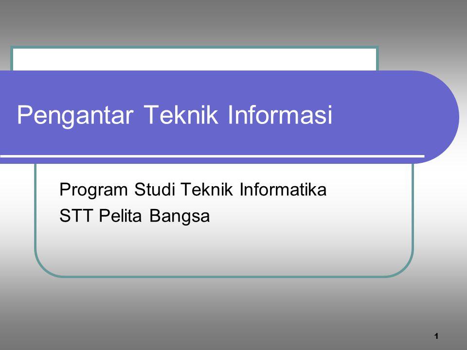 Pengantar Teknik Informasi Program Studi Teknik Informatika STT Pelita Bangsa 1