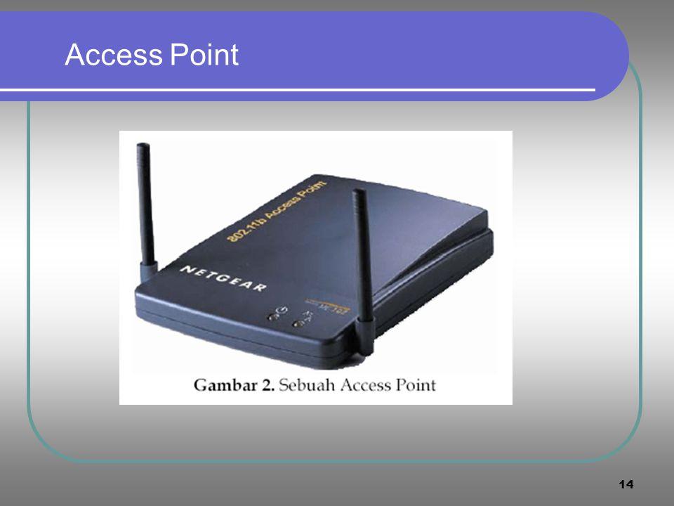 13 Wireless Local Area Network (WLAN)  Wireless local area network (WLAN) adalah suatu sistem komunikasi data fleksibel yang dapat menggunakan teknol