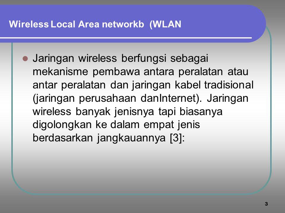 13 Wireless Local Area Network (WLAN)  Wireless local area network (WLAN) adalah suatu sistem komunikasi data fleksibel yang dapat menggunakan teknologi inframerah atau frekwensi radio (RF) untuk mentransmisikan dan menerima informasi dengan perantaraan radio, melalui dinding, plafon/ langit-langit, dan struktur semen.