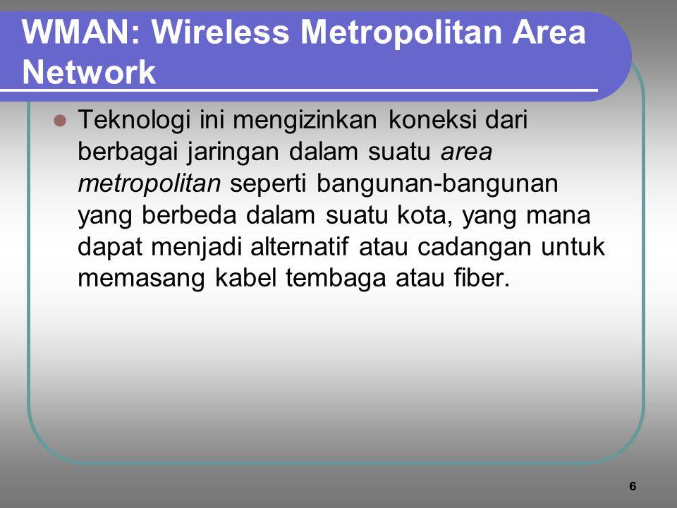 6 WMAN: Wireless Metropolitan Area Network  Teknologi ini mengizinkan koneksi dari berbagai jaringan dalam suatu area metropolitan seperti bangunan-bangunan yang berbeda dalam suatu kota, yang mana dapat menjadi alternatif atau cadangan untuk memasang kabel tembaga atau fiber.
