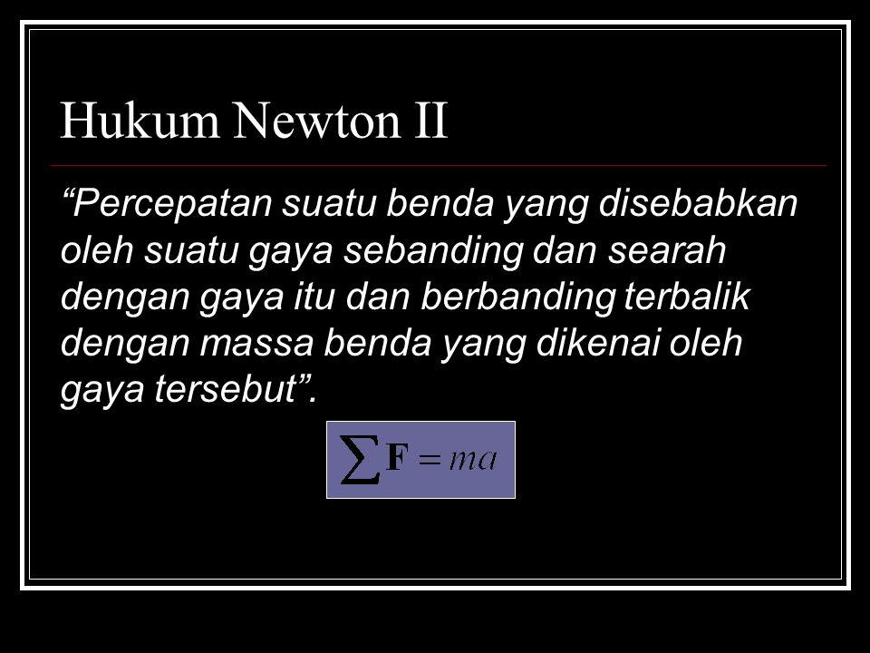 Hukum Newton II Percepatan suatu benda yang disebabkan oleh suatu gaya sebanding dan searah dengan gaya itu dan berbanding terbalik dengan massa benda yang dikenai oleh gaya tersebut .