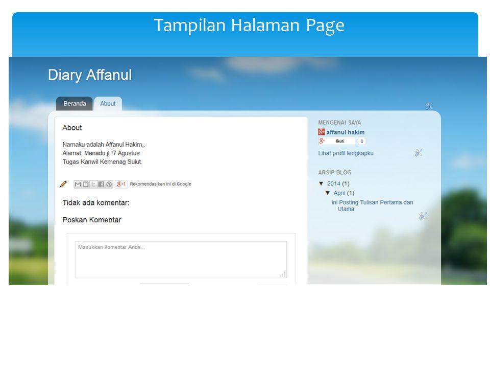 Tampilan Halaman Page