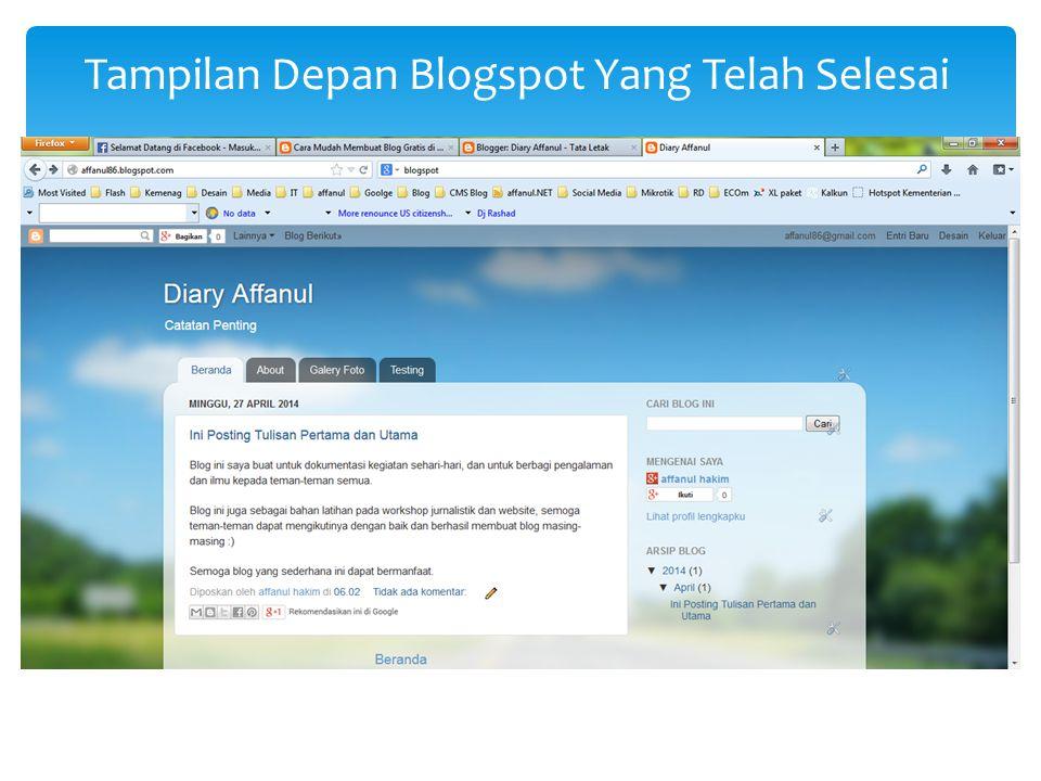 Tampilan Depan Blogspot Yang Telah Selesai