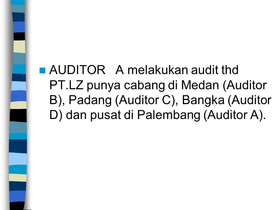 AUDITOR A melakukan audit thd PT.LZ punya cabang di Medan (Auditor B), Padang (Auditor C), Bangka (Auditor D) dan pusat di Palembang (Auditor A).