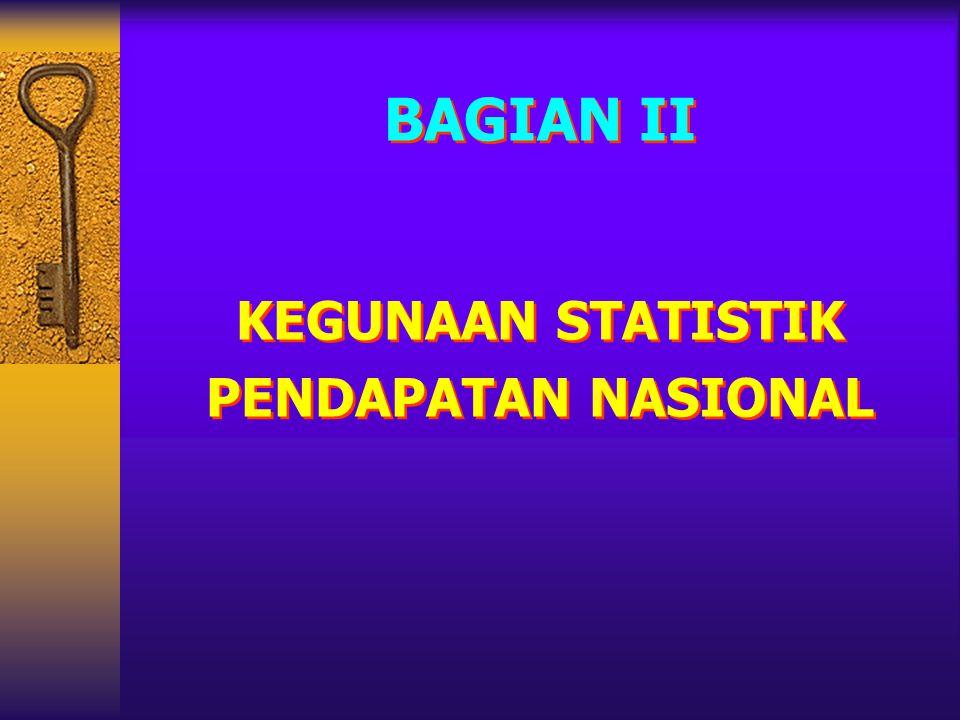 BAGIAN II KEGUNAAN STATISTIK PENDAPATAN NASIONAL BAGIAN II KEGUNAAN STATISTIK PENDAPATAN NASIONAL