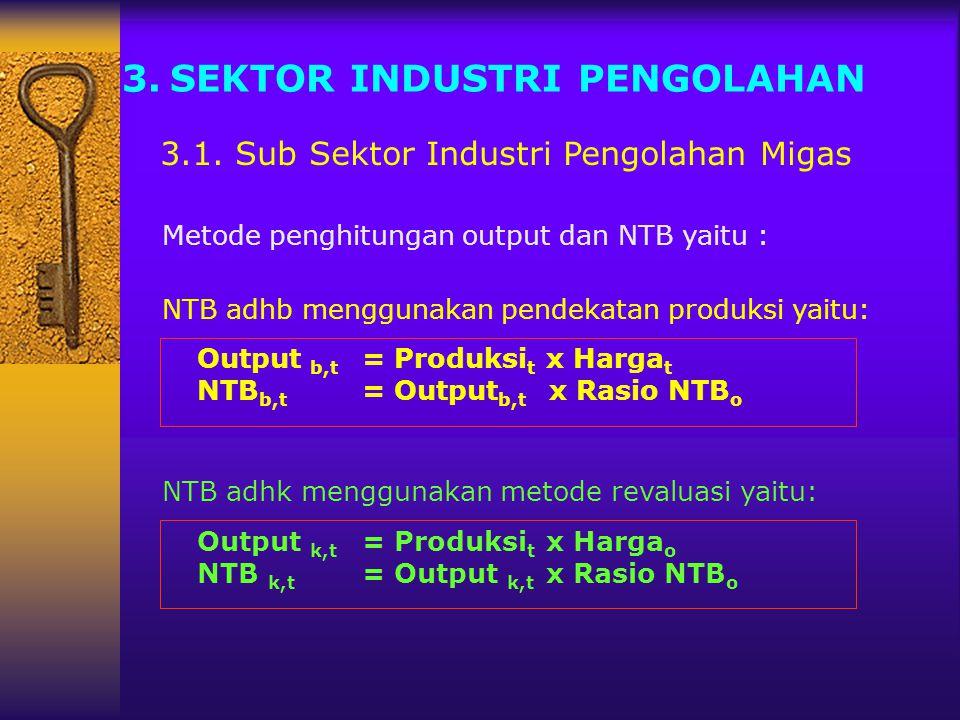 3.SEKTOR INDUSTRI PENGOLAHAN 3.1. Sub Sektor Industri Pengolahan Migas NTB adhb menggunakan pendekatan produksi yaitu: Output b,t = Produksi t x Harga