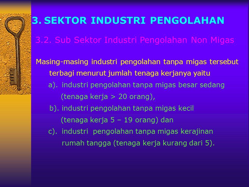 3.SEKTOR INDUSTRI PENGOLAHAN Masing-masing industri pengolahan tanpa migas tersebut terbagi menurut jumlah tenaga kerjanya yaitu a).industri pengolaha
