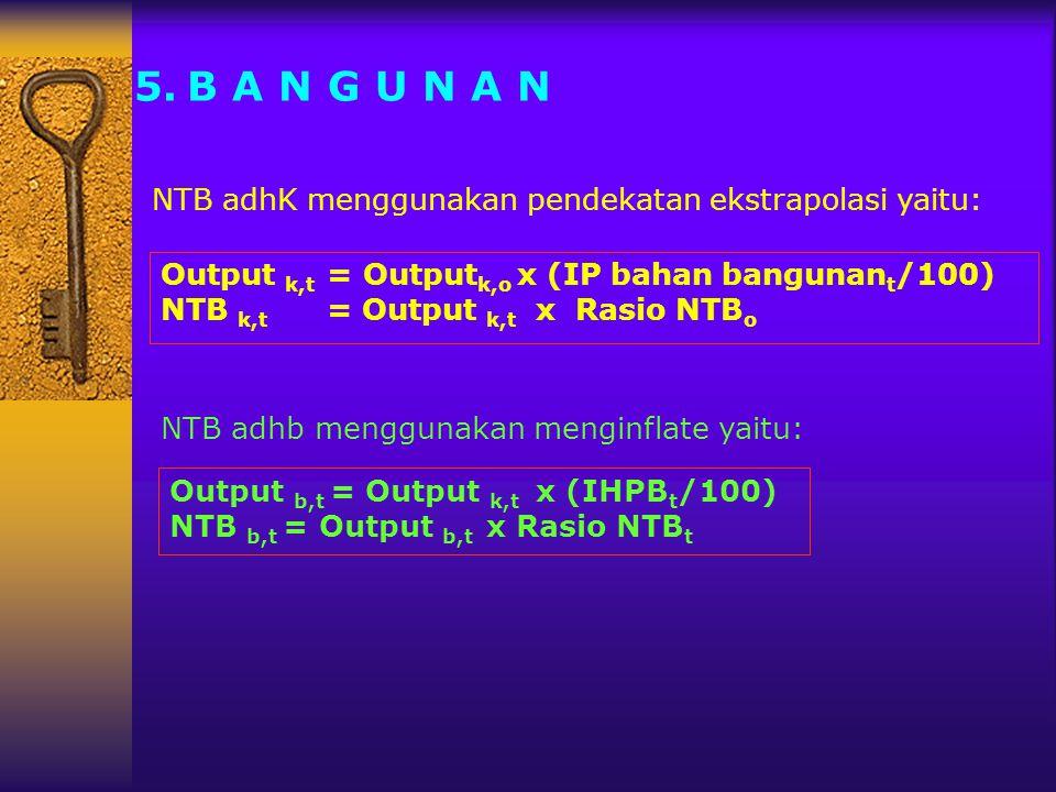 5.B A N G U N A N NTB adhK menggunakan pendekatan ekstrapolasi yaitu: NTB adhb menggunakan menginflate yaitu: Output k,t = Output k,o x (IP bahan bang
