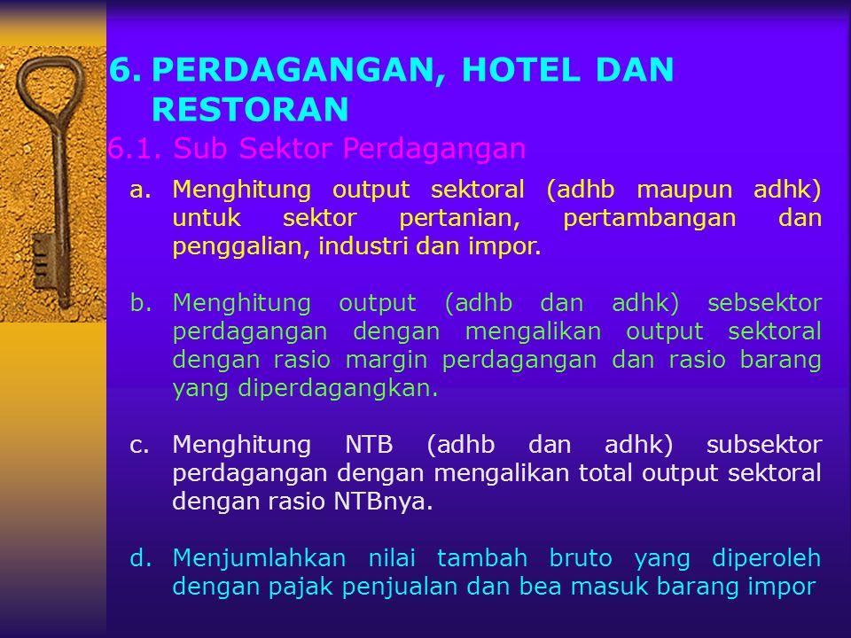 6.PERDAGANGAN, HOTEL DAN RESTORAN a.Menghitung output sektoral (adhb maupun adhk) untuk sektor pertanian, pertambangan dan penggalian, industri dan im