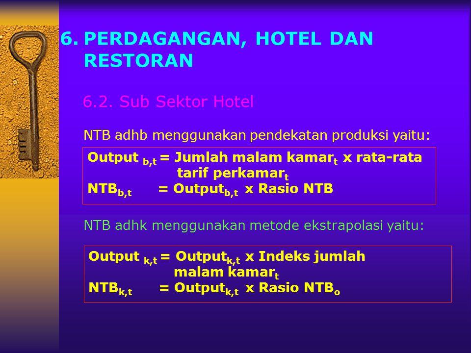 6.PERDAGANGAN, HOTEL DAN RESTORAN 6.2. Sub Sektor Hotel NTB adhb menggunakan pendekatan produksi yaitu: NTB adhk menggunakan metode ekstrapolasi yaitu