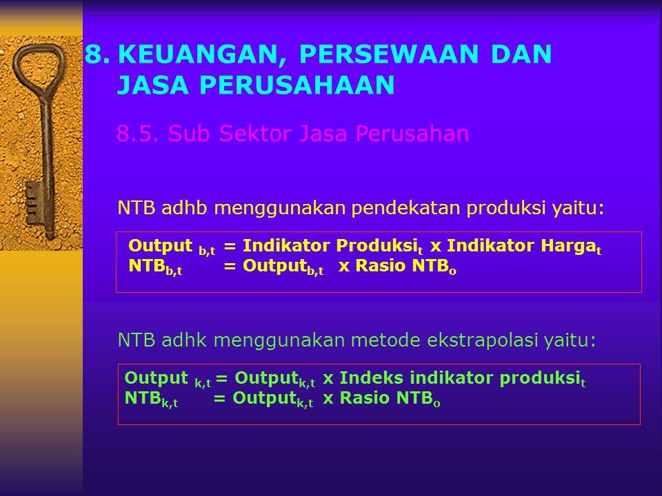 8.KEUANGAN, PERSEWAAN DAN JASA PERUSAHAAN 8.5. Sub Sektor Jasa Perusahan NTB adhb menggunakan pendekatan produksi yaitu: NTB adhk menggunakan metode e