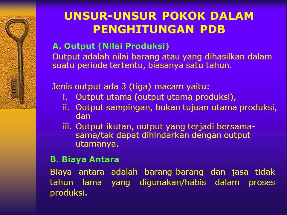 UNSUR-UNSUR POKOK DALAM PENGHITUNGAN PDB A. Output (Nilai Produksi) Output adalah nilai barang atau yang dihasilkan dalam suatu periode tertentu, bias