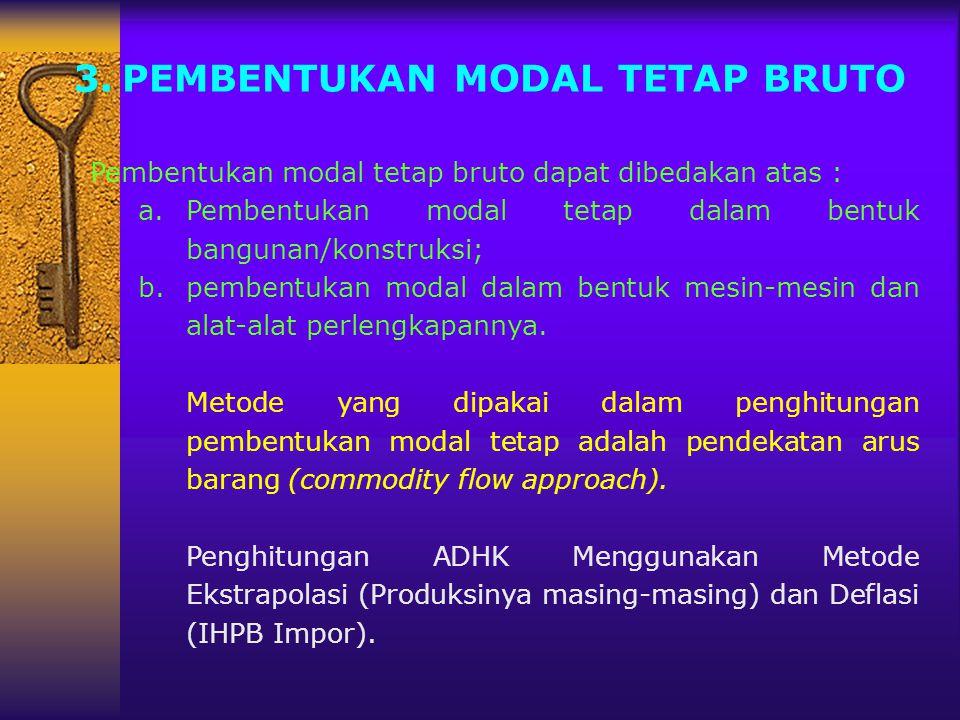 3.PEMBENTUKAN MODAL TETAP BRUTO Pembentukan modal tetap bruto dapat dibedakan atas : a.Pembentukan modal tetap dalam bentuk bangunan/konstruksi; b.pem