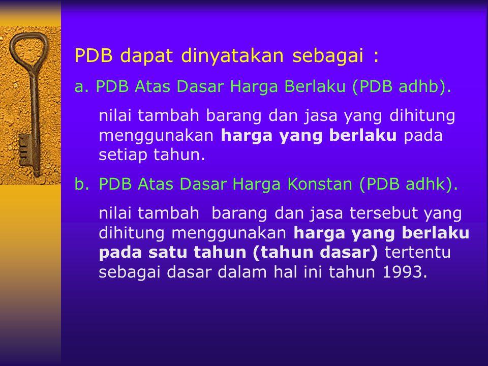PDB dapat dinyatakan sebagai : a. PDB Atas Dasar Harga Berlaku (PDB adhb). nilai tambah barang dan jasa yang dihitung menggunakan harga yang berlaku p
