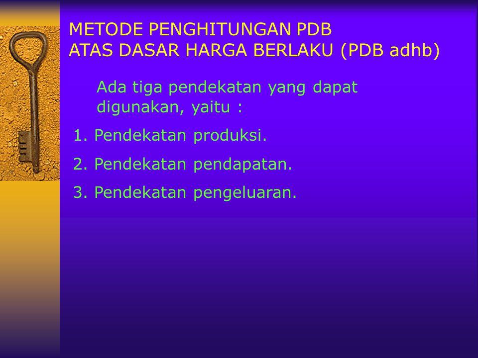 METODE PENGHITUNGAN PDB ATAS DASAR HARGA BERLAKU (PDB adhb) Ada tiga pendekatan yang dapat digunakan, yaitu : 1. Pendekatan produksi. 2. Pendekatan pe